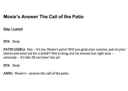 Moxies Patio Script